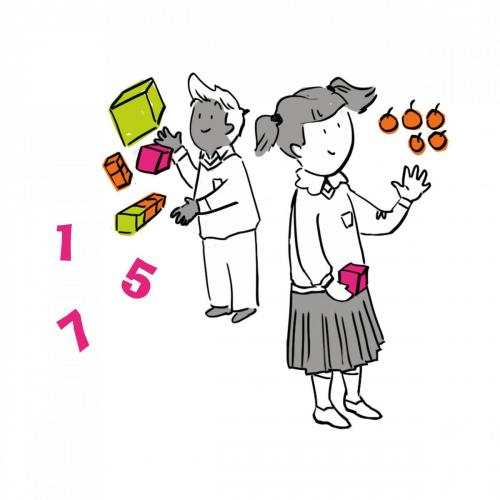 2 kids playing with numbers illustration