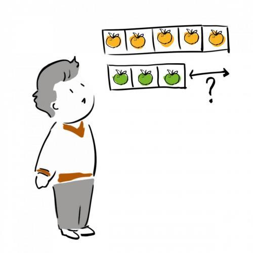 Kid and apples illustration