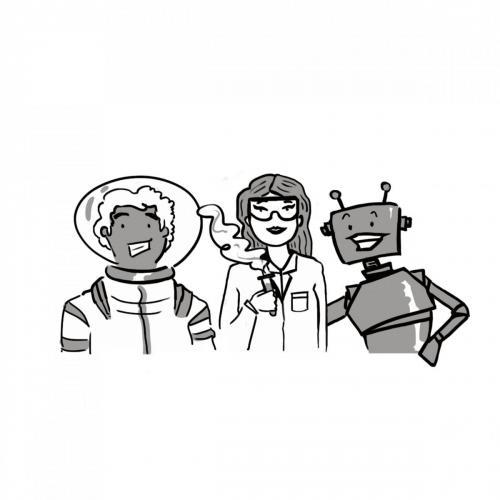 robot - astronaut - scientist illustration